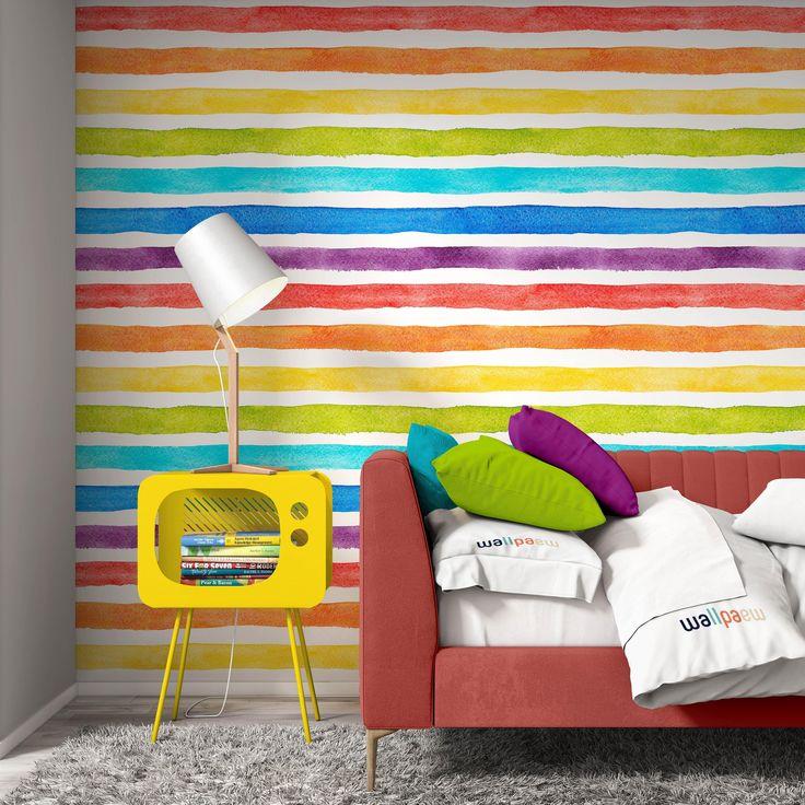 Watercolor Multicolor Bright Rainbow Colors Horizontal Stripes Etsy Striped Wallpaper Stripe Wallpaper Bedroom Horizontal Stripes