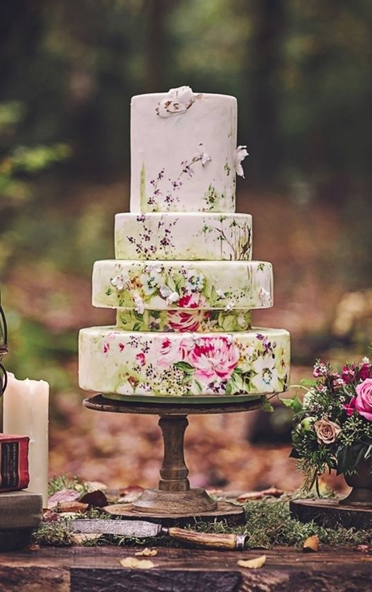 This hand-painted floral cake that practically belongs in a museum. | 24 Wedding Cakes That Made 2016 So Much Sweeter