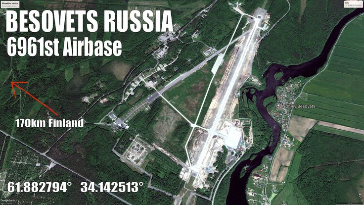 Besovets 6961st Air Base Russian AF at Carelia, Petrozavodsk (Petroskoi). This AB has the newest Su-35E+ planes and total 56 fighters. 170km to Finland.