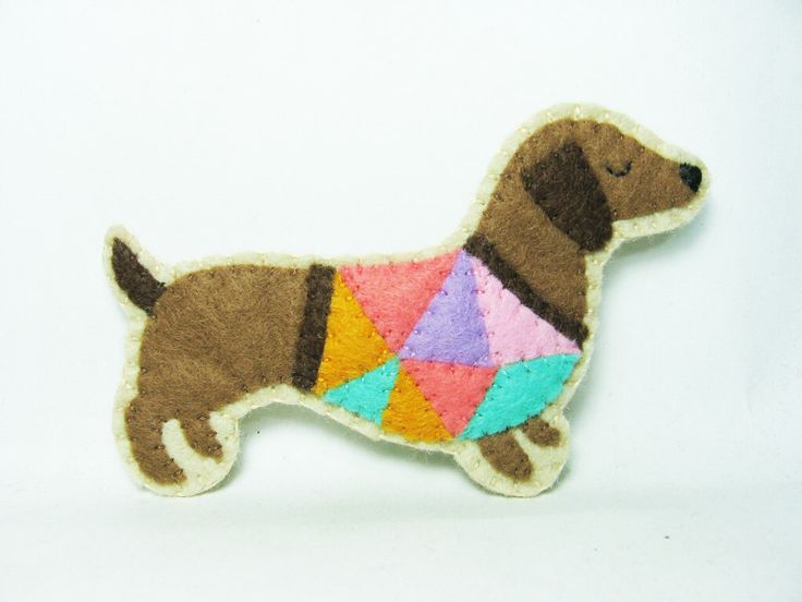 Conceited Dachshund Felt Brooch / Contemporary Sausage Dog Wearing a Funky T-Shirt / Felt Dog Pin / Felt Pet Brooch - made to order by hanaletters on Etsy https://www.etsy.com/listing/205762088/conceited-dachshund-felt-brooch