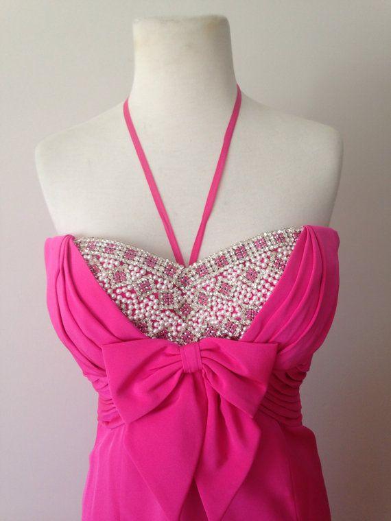 Vintage des années 60 robe rose chaud / Sam Carlin SAKS Fifth Avenue strass robe Vintage bustier
