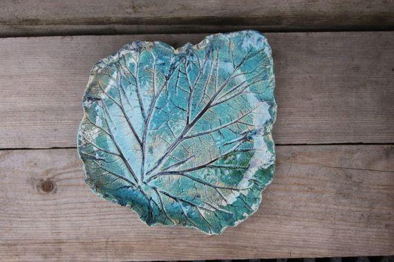 Ceramic leaf platter, turquoise bowl, turquoise Plateau, turquoise Home Decor, Ceramic Leaf Dish, Leaf Plate, Aqua Plate, rhubarb leaf by GlinianaKoniczynka on Etsy