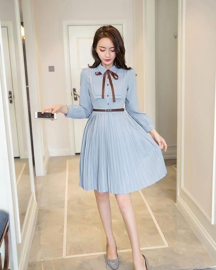 Woman Casual Clothes Ideas Stylish Spring 2021 Gentle Korean Fashion Tiktok School Fashion Fashion Outfits Korean Fashion Dress