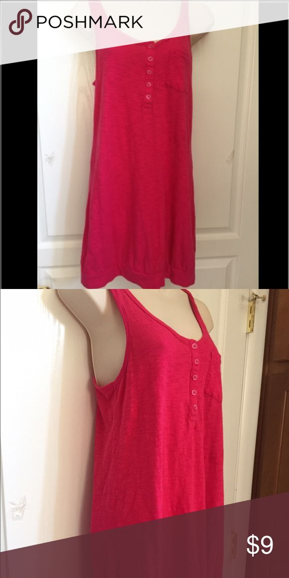 H&M long pink tank w/ buttons and small pocket Worn a few times. Pink H&M long tank, not a dress. Looks cute with bralette and leggings. In good condition. 100% cotton. H&M Tops Tank Tops
