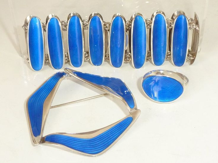 Silver blue Enamel Demi Parure Set Bracelet Brooch Ring Einar Modahl Norway