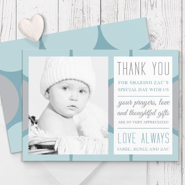 baptism christening thank you card blue aqua spots double sided with photo