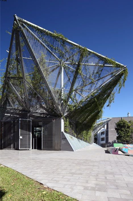 Angular steel canopy covers refurbished community centre by Collins and Turner