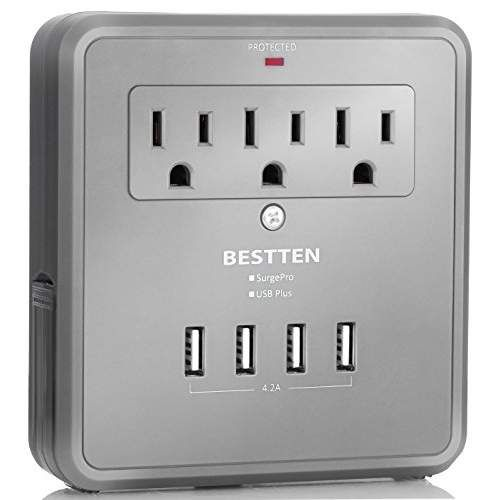 Bestten Charging Center-Wall Mount Surge Protector with Four (4) USB Charging Ports (4.2A Total), 3 AC Outlets and 2 Slide Out Phone Holders, ETL Certified