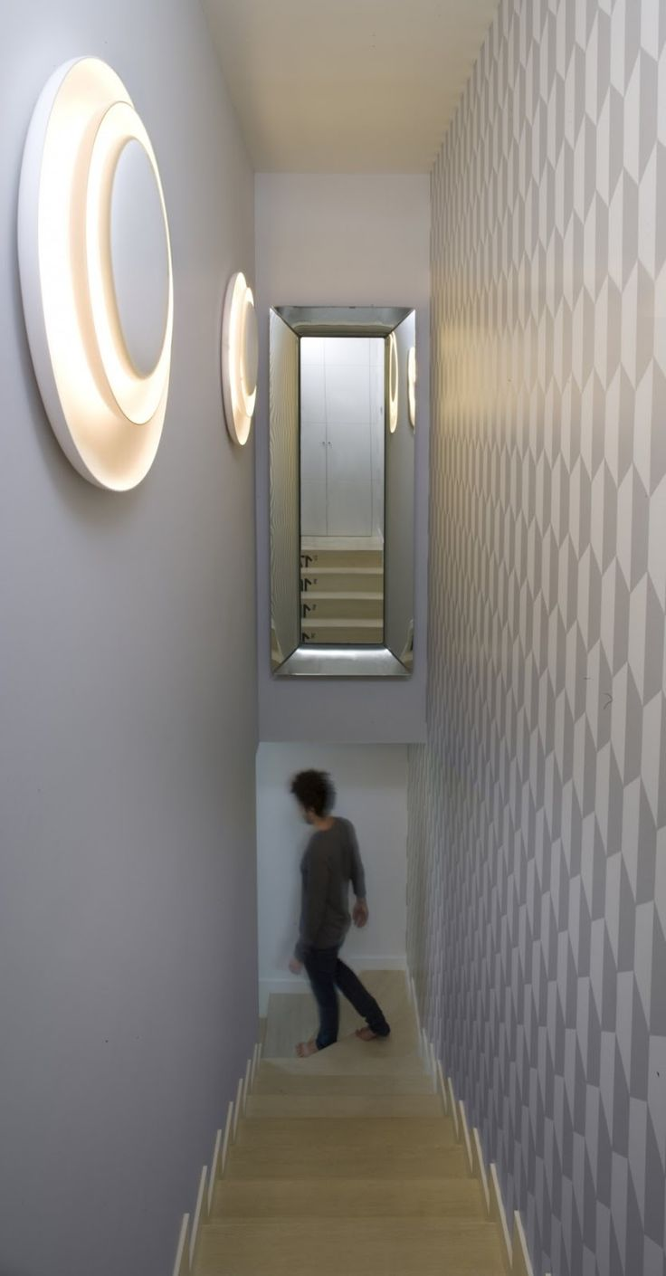 Apartment: Minimalist Krakow Apartment Designed by Morpho Studio, Krakow Apartment Stair with Gray Wall Paint Color and Mirror and Unique Wall Sconces by Morpho Studio