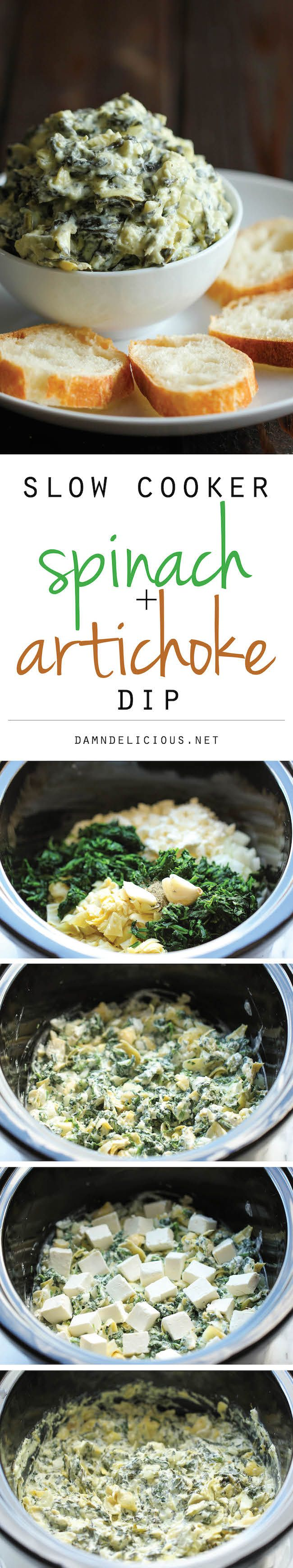 Slow Cooker Spinach and Artichoke Dip ~ simply throw everything in the crockpot for the easiest, most effortless spinach and artichoke dip!