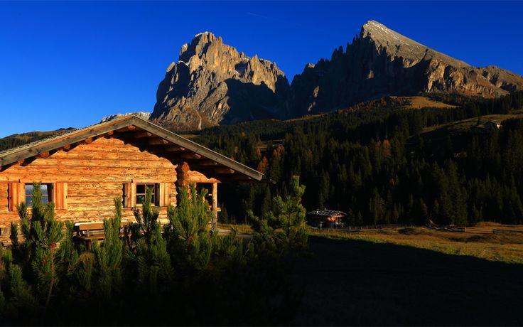 Скачать обои Italy, деревья, Trentino-Alto Adige, горы, Италия, Santa Cristina Valgardena, домик, раздел пейзажи в разрешении 1920x1200