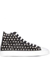 Gienchi Sneakers Jean Michel High Top In Pelle Nera Con Borchie white - Lyst