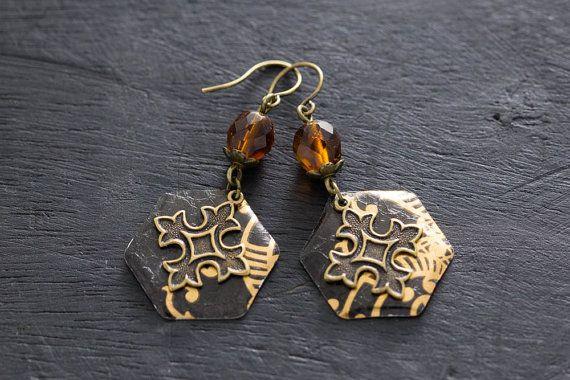 Tudor oorbellen, Fleur De Lis Cross oorbellen, Patonce Cross oorbellen, middeleeuwse Cross oorbellen, middeleeuwse sieraden, oorbellen van de Renaissance.