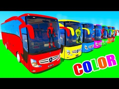 Spiderman Big Bus, Trucks & Tractors for Kids - Cartoon for children with Nursery Rhymes Songs - YouTube