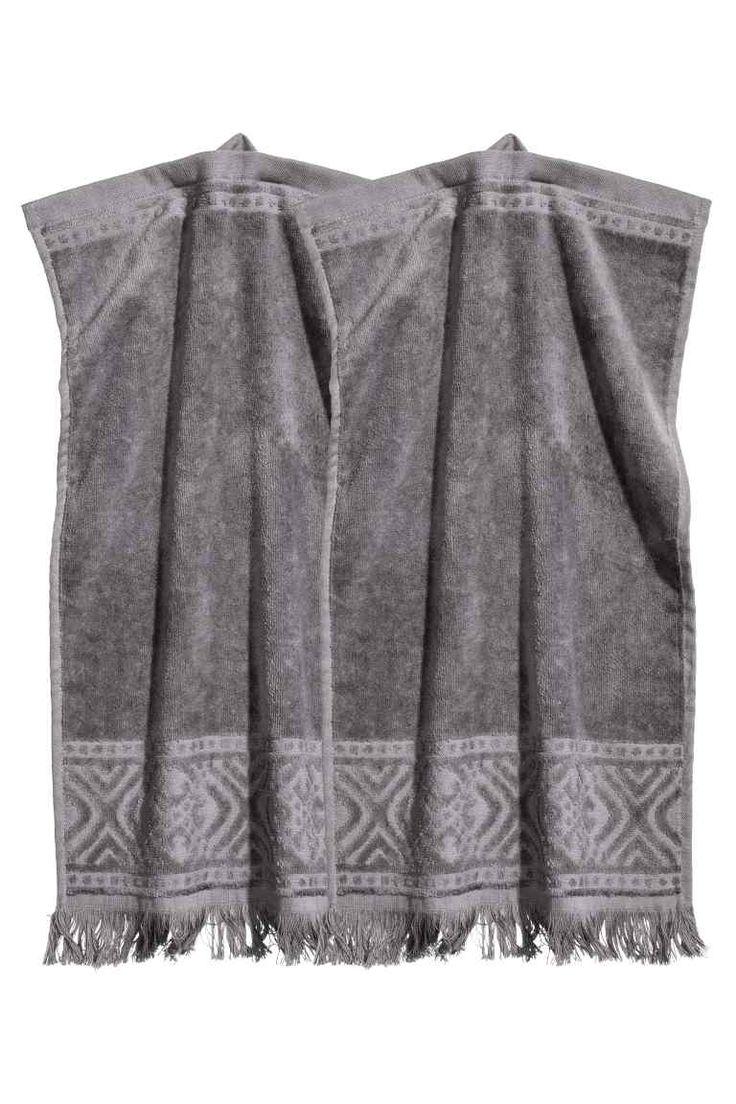 Balení: 2 ručníky pro hosty - Tmavě šedá - HOME   H&M CZ 1