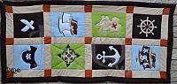 BQ barna-bézs kalóz mozaik takaró, babyquilt, babyblanket, Quilt fog boys, pirate, kidsroom decor