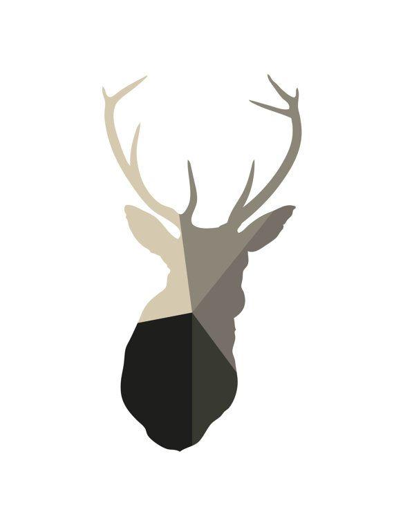 Deer Print Deer Art Geometric Deer Beige by MelindaWoodDesigns