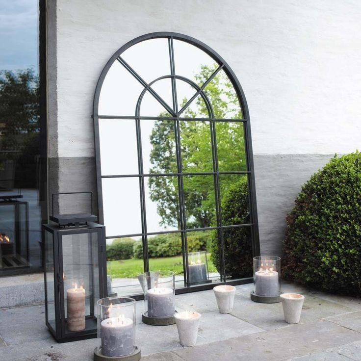 Miroir en métal noir H 135 cm ORANGERIE