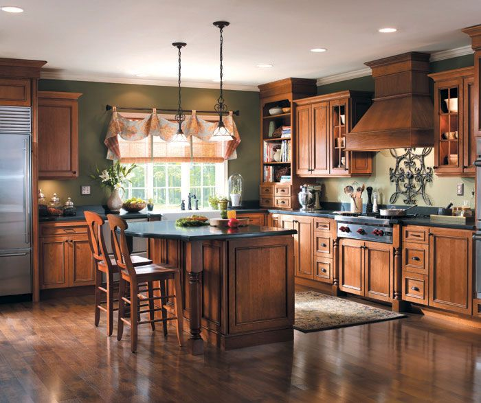 French Country Kitchen Cabinet Colors: Rustic Hickory Kitchen Cabinets