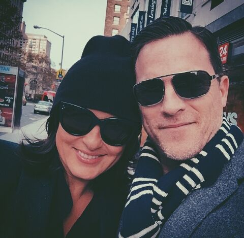 Mariska with Mike Doyle; glasses, black cap