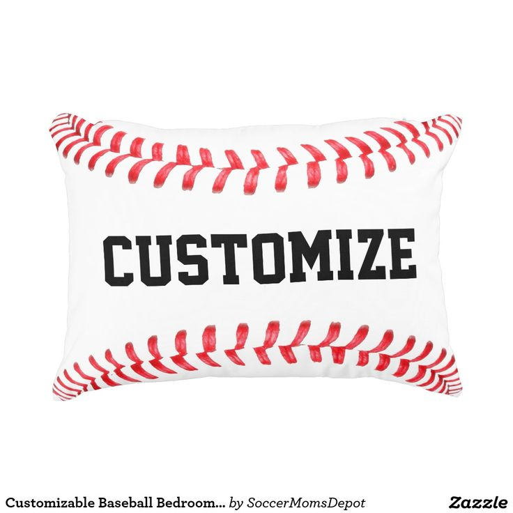 Customizable Baseball Bedroom Accent Pillow