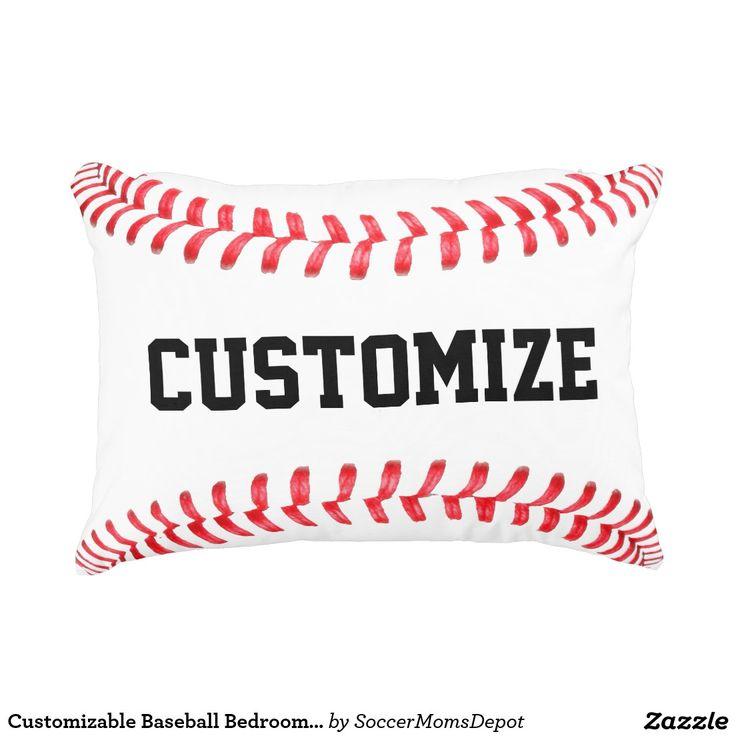 Customizable Baseball Bedroom Accent Pillow