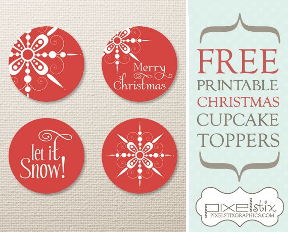 FREE Printable Snowflake Cupcake Toppers! Part of PixelStix's 12 Days of Christmas! Be sure to check out facebook for more FREEBIES! www.facebook.com/pixelstixgraphics