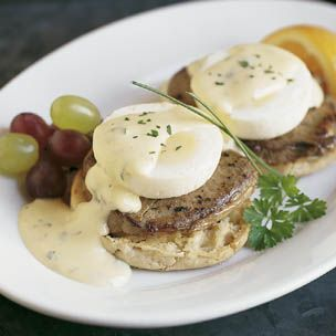Steak and Eggs Benedict - A classic French sauce for beef, béarnaise is the perfect accompaniment for our variation on eggs Benedict. We substitute filet mignon for ham and béarnaise sauce for the traditional hollandaise.  Recipe courtesy of Williams-Sonoma #recipes #eggs #steak @The Food Channel .com @Williams-Sonoma