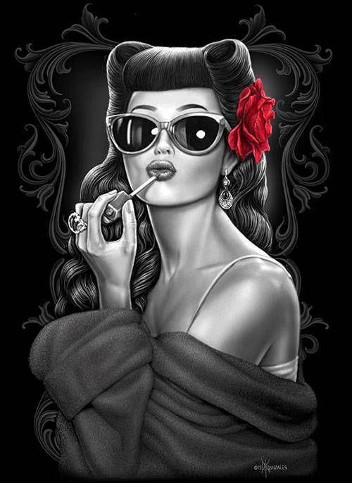 Glamorous by David Gonzales Tattoo Canvas Art Print Rockabilly Cali Lowrider