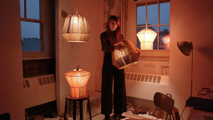"Ana Kraš - ""Shy Gestures""   Serbian-born Ana Kraš is a New York-based designer that creates usable and utilitarian furniture like her lamps that are made manually by looping leftover cotton threads from a Serbian company Ivko Knits, over industrial metal frames."