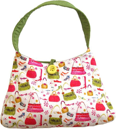 Lime Shopping Spree handbag AUD45.00 Let's go on a shopping spree! Chirpy lime and pink fabric with shoes and bags. Fully lined with a large internal pocket to keep keys, cellphone and stuff.   Dimensions: 34cm (top width) X 44.5cm (bottom width) X 28cm (tall excluding strap)   Note: The front detail button may vary in color. http://www.imusthavethat.com.au/pd-lime-shopping-spree.cfm