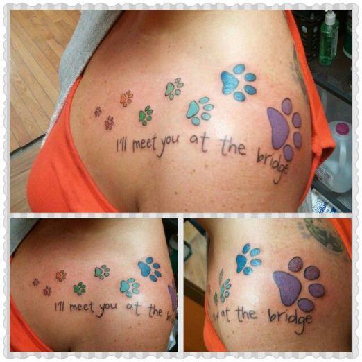 A special message between two companions. #inked #Inkedmag #tattoo #pet #memorial #tribute #cute #rainbow #bridge