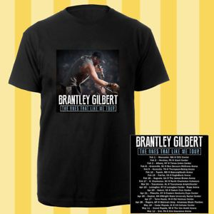 Brantley Gilbert the Ones That Like Me tour dates feb-may 2018 black tees; Material 100% cotton, Basic style; Short sleeve;