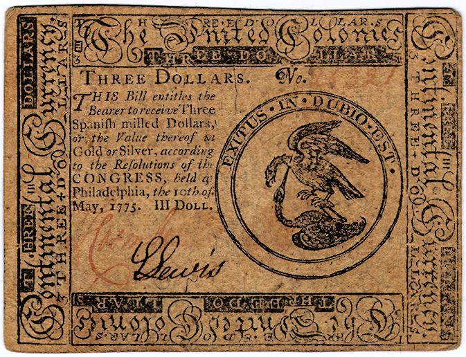June 22 1775, Congress issues  2 million in bills of credit.