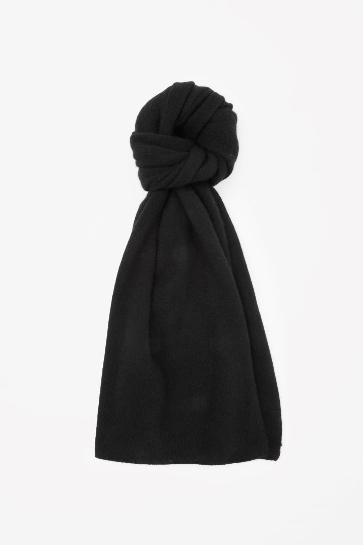 COS image 1 of Cashmere scarf in Black