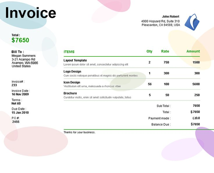 Freelance Design Invoice Template – Robinhobbs.Info