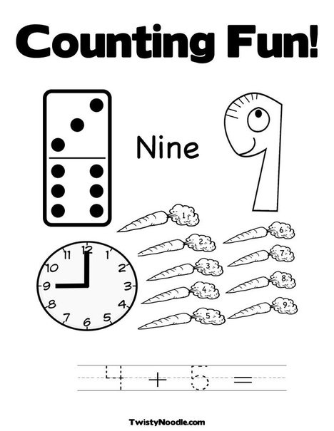 9 Coloring Page from TwistyNoodle.com : Numbers ...