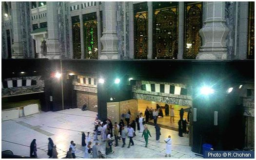 House of Abbas (r.a.) - This is the approximate area, outside the place of Sa'ee where the house of Abbas (r.a.) was located. Abbas (r.a.) was a paternal uncle of the Prophet (s.a.w.) and protected him while he was in Makkah.  More information:  http://www.islamiclandmarks.com/saudi/makkah/haram_sharief/house_of_abbas_ra.html