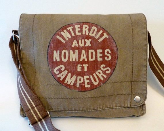 "Hand Painted Canvas Messenger Field Bag Satchel ""Interdit aux Nomades et Campeurs"". $68.00, via Etsy."