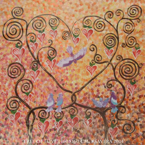 #Liebesbaum Großes Bild ocker große Malerei KSAVERA von ksavera-art auf DaWanda.com #kunst #malerei #gemälde #baum