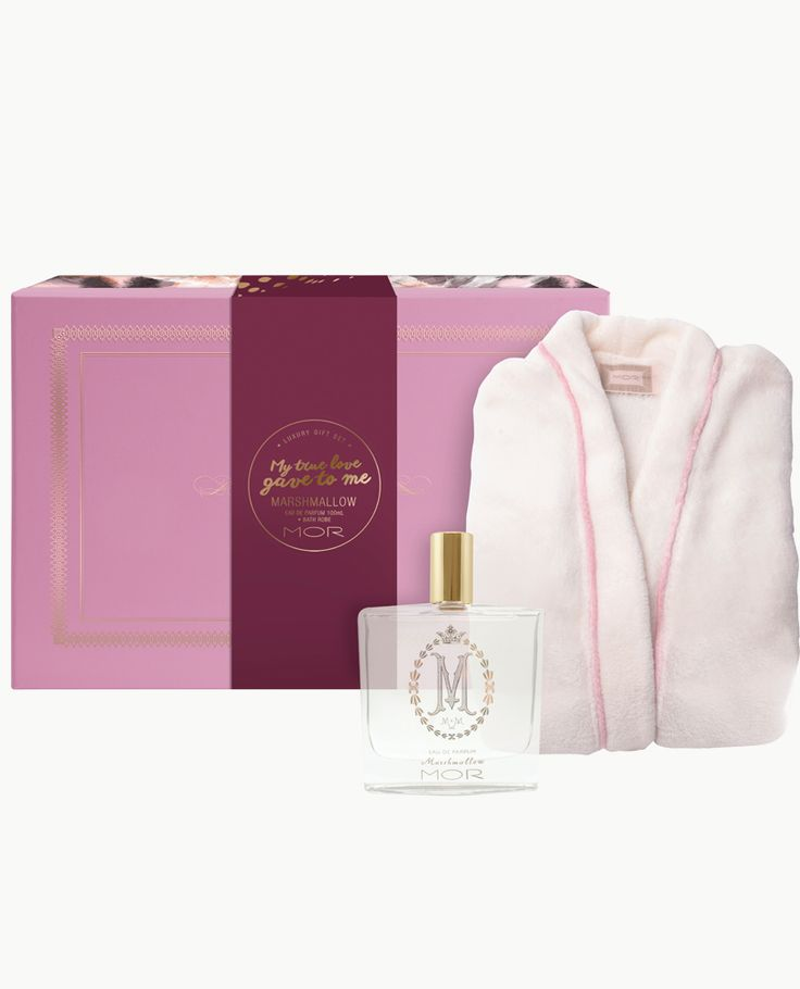 The ultimate in feminine decadence with a limited edition Luxury Marshmallow Bath Robe and mesmerising Marshmallow Eau De Parfum, encased in a keepsake adorned box.