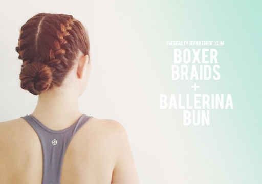 If you've got extra thick/long hair, boxer braid each side of your head and pull the remaining strands into a bun.