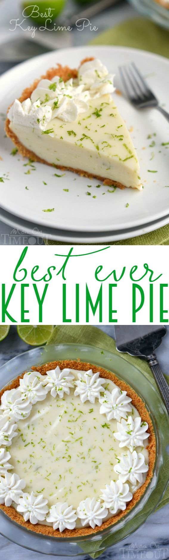 The Best Key Lime Pie recipe EVER! And so darn easy too! You won't be able to stop at just one slice! The perfect easy dessert recipe! | MomOnTimeout.com | #pie #recipe