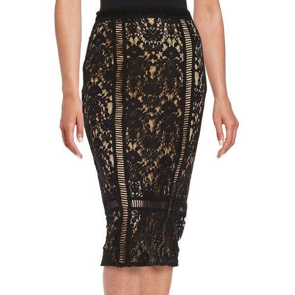 Bailey 44 Lace Pencil Skirt ($174) ❤ liked on Polyvore featuring skirts, black, pencil skirt, lacy skirt, wrap skirt, bailey 44 skirt and bailey 44