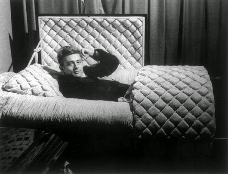 James Dean posing in the coffin in the local undertaker in his home town the year he died in a car crash, January 1955.