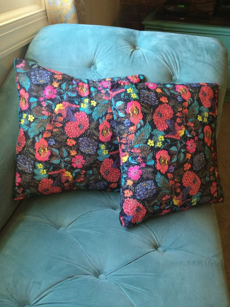 Black/Navy Birds and Flowers 16 x 16 throw pillow (pocket pillow case) by TurquoiseandTreasure on Etsy