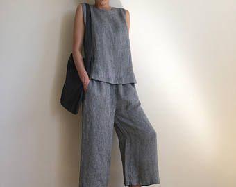 NIEUWE grijs breed been linnen broek / elastische taille linnen broek