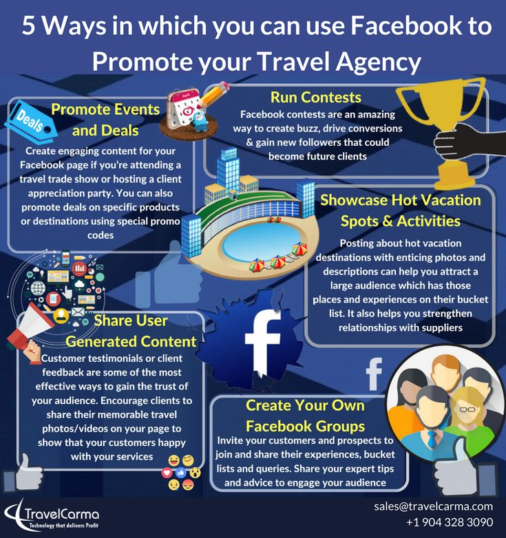 The 51 best travelcarma infographics images on pinterest 5 ways in which you can use facebook to promote your travel agency some quick pointers to help you propel your travel agency brand on facebook fandeluxe Gallery