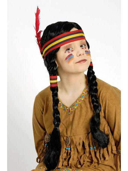 "https://11ter11ter.de/19410924.html Langhaar Kinder Perücke ""Indianerin"" mit Zöpfen #11ter11ter #haare #karneval #perücke #fasching #indianer #kids #zöpfe #flechten"
