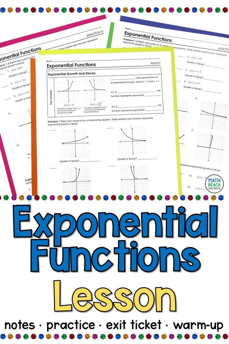 Graphing Exponential Functions Worksheet Answers Exponential Functions And The Number E Less In 2020 Exponential Functions Word Problem Worksheets Algebra Lesson Plans